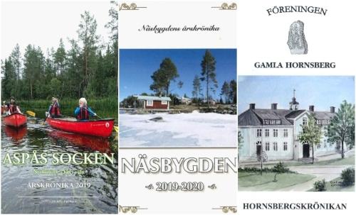 Familjer i röda kanoter, ett rött fritidshus vid en strandkant på vårvintern och en målning över Hornsbergs gamla ljusblå skola på Frösön.
