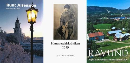 Alsens kyrka i vinterskrud, en tavla i bruna färger föreställande en man från förr i vinterkläder, ett flygfoto över en gård i Ragundadalen sommartid.
