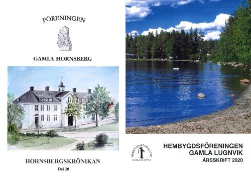 En målning av Hornsbergsskolans gamla blå byggnad och en sommarvy från Persudden och Semsåparken i Lugnvik