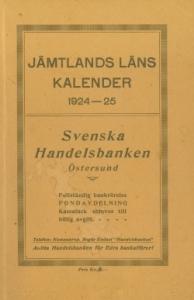 Gammal kalender i mörkgult med reklam från Svenska Handelsbanken