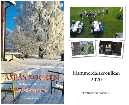 Sparkar i snö framför en björk med rimfrost och små bilder från Hammerdal.
