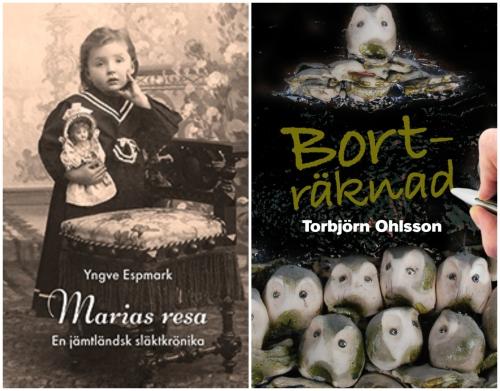 Gammalt fotografi med ett barn i sjömansklänning med docka i famnen och en keramiktavla med mossastenar.